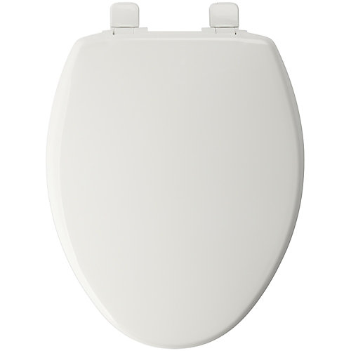 Elongated Closed Front Toilet Seat in White with Whisper Close Hinge