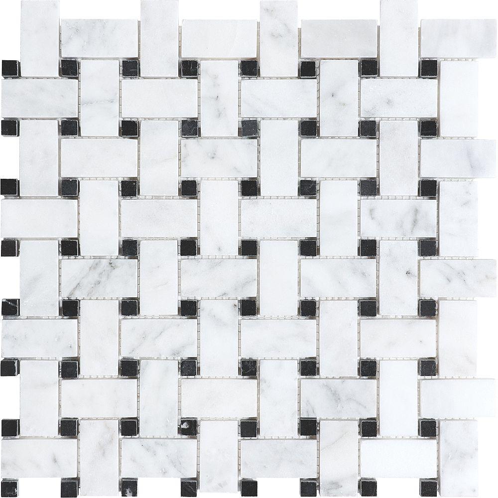 Enigma Mosaïques Bianco À Tressage En Panier Polies