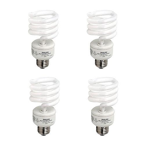 23W = 100W Daylight (6500K) Mini Twister CFL Light Bulb (4-Pack)