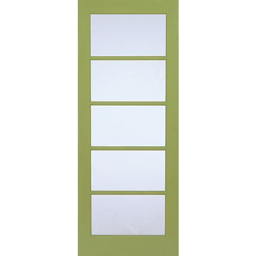 Milette 24-inch x 80-inch Primed 5 Lite Door with Privacy Screen Glass