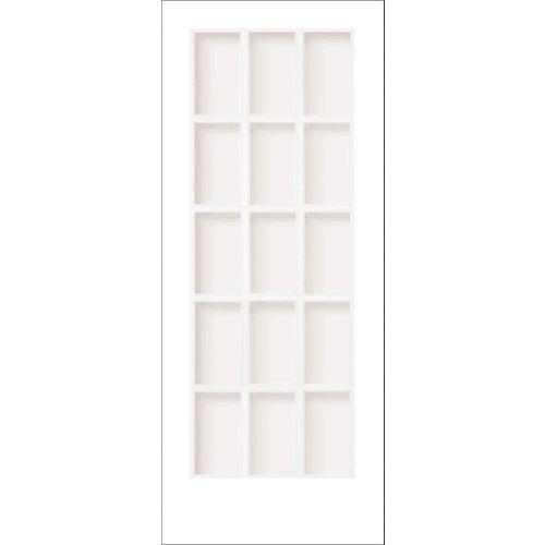 """Porte française 15 verres """"Clair"""" en apprêt blanc - 28x80"""