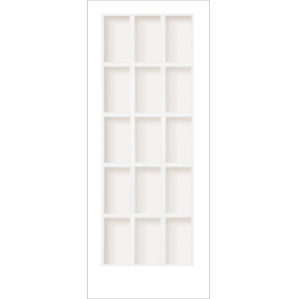 Milette 30-inch x 80-inch Primed 15 Lite Interior French Door with Clear Glass