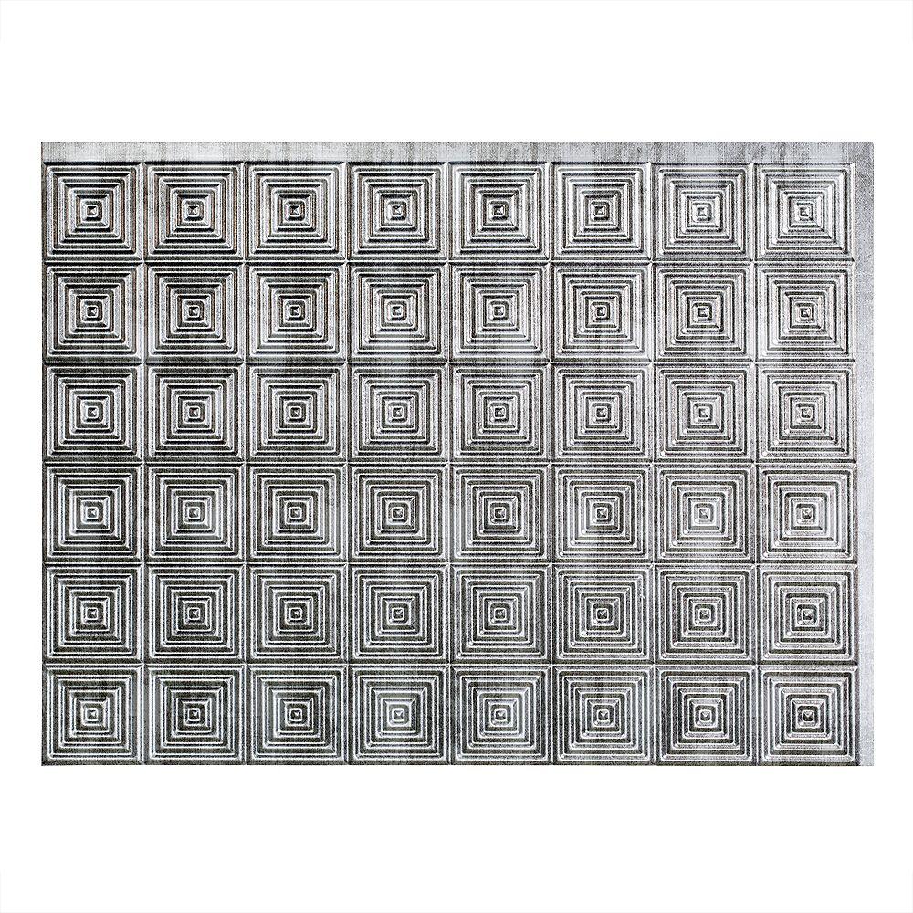 Fasade Miniquattro Crosshatch Silver 18 inch x 24 inch PVC Backsplash Panel