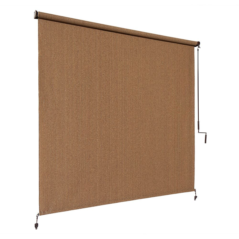 6 ft x 8 ft outdoor crank roller shade with 95 uv protection in walnut