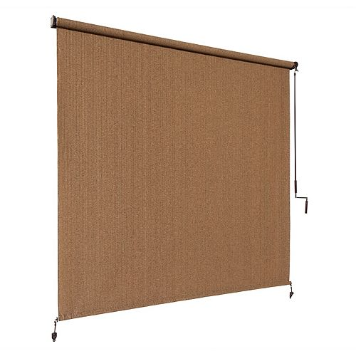 Outdoor Crank Roller Shade with 95% UV Protection0 (6 ft. x 8 ft.) Walnut