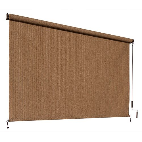 Outdoor Crank Roller Shade with 95% UV Protection0 (8 ft. x 8 ft.) Walnut