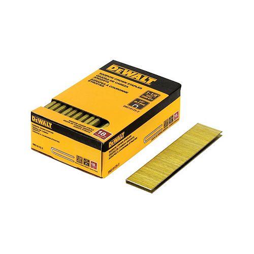Agrafes à couronne étroite de 1-1/4 pouce x 18 pouces collées aux jambes (5000 par boîte)