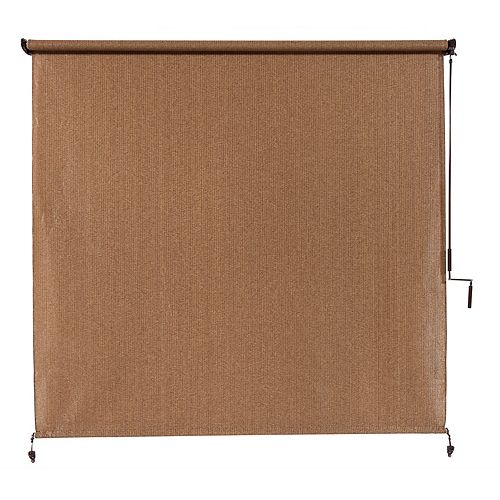 Outdoor Crank Roller Shade with 95% UV Protection0 (10 ft. x 8 ft.) Walnut
