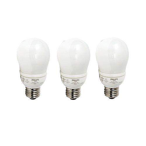 CFL 9W = 40W A-Line (A19) Soft White (2700K) - (3-Pack)