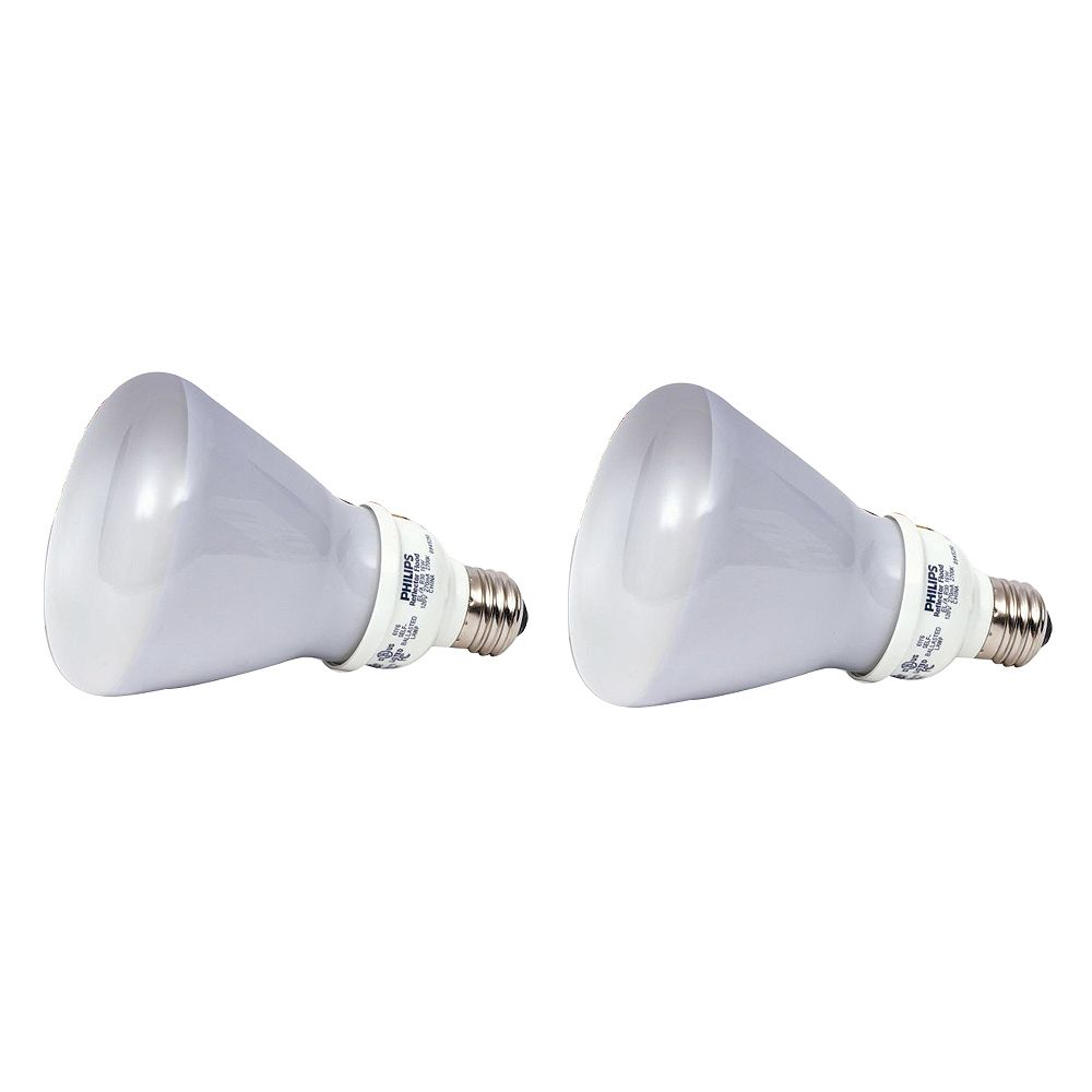 Philips CFL 15W = 65W R30 Reflector Soft White (2700K) - (2-Pack)