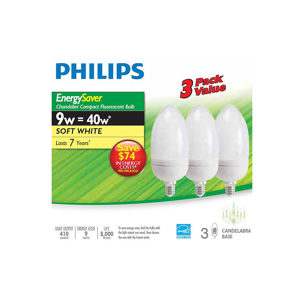 Philips CFL 9W = 40W Chandelier Small Base Soft White (2700K) - (3-Pack)