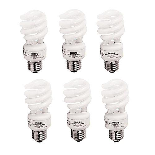 13W = 60W Soft White (2700K) Mini Twister CFL Light Bulb (6-Pack)