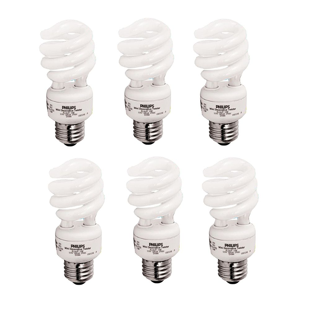 Philips 13W = 60W Soft White (2700K) Mini Twister CFL Light Bulb (6-Pack)