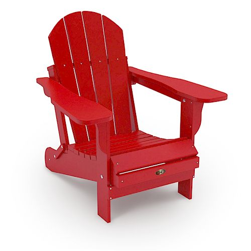 Patio Leisure Line Recycled Plastic Folding Adirondack Chair - Red