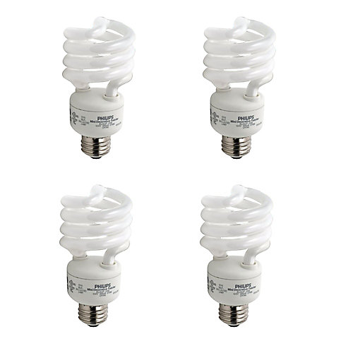 23W = 100W Bright White (5000K) Mini Twister CFL Light Bulb (4-Pack)