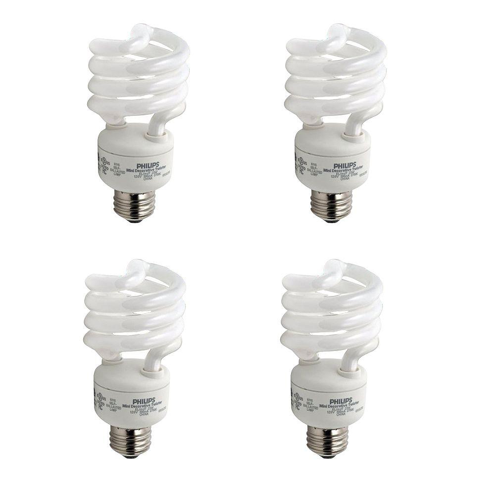 Philips 23W = 100W Bright White (5000K) Mini Twister CFL Light Bulb (4-Pack)