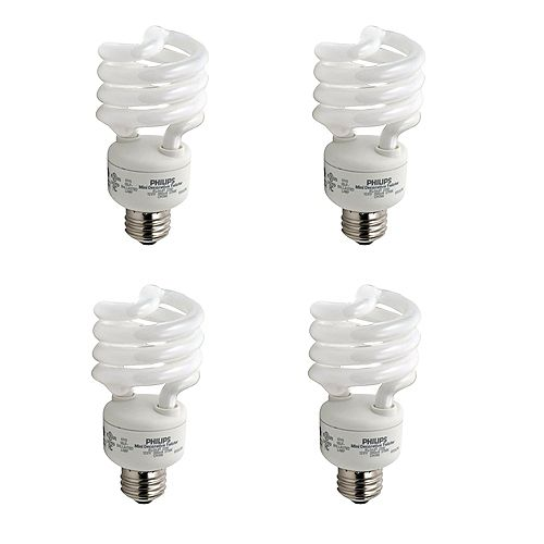 23W = 100W Bright White (5000K) Mini Twister CFL Light Bulb (4-Pack)