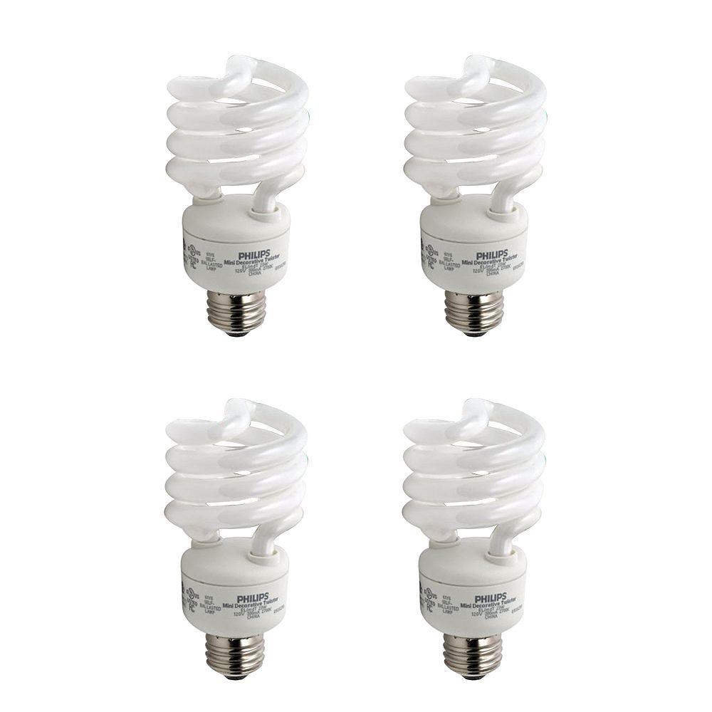 Philips 23W = 100W Soft White (2700K) Mini Twister CFL Light Bulb (4-Pack)