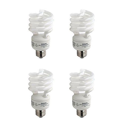 23W = 100W Soft White (2700K) Mini Twister CFL Light Bulb (4-Pack)