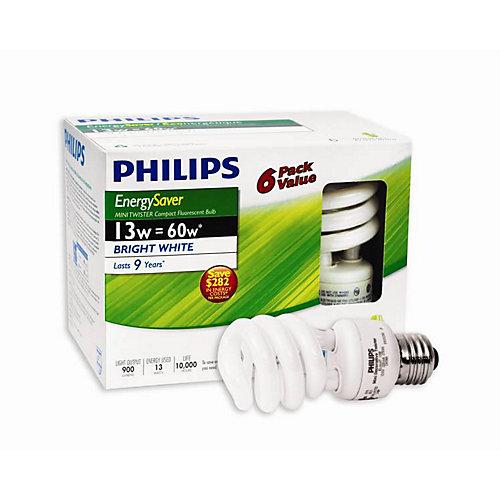 13W = 60W Bright White (5000K) Mini Twister CFL Light Bulb (6-Pack)