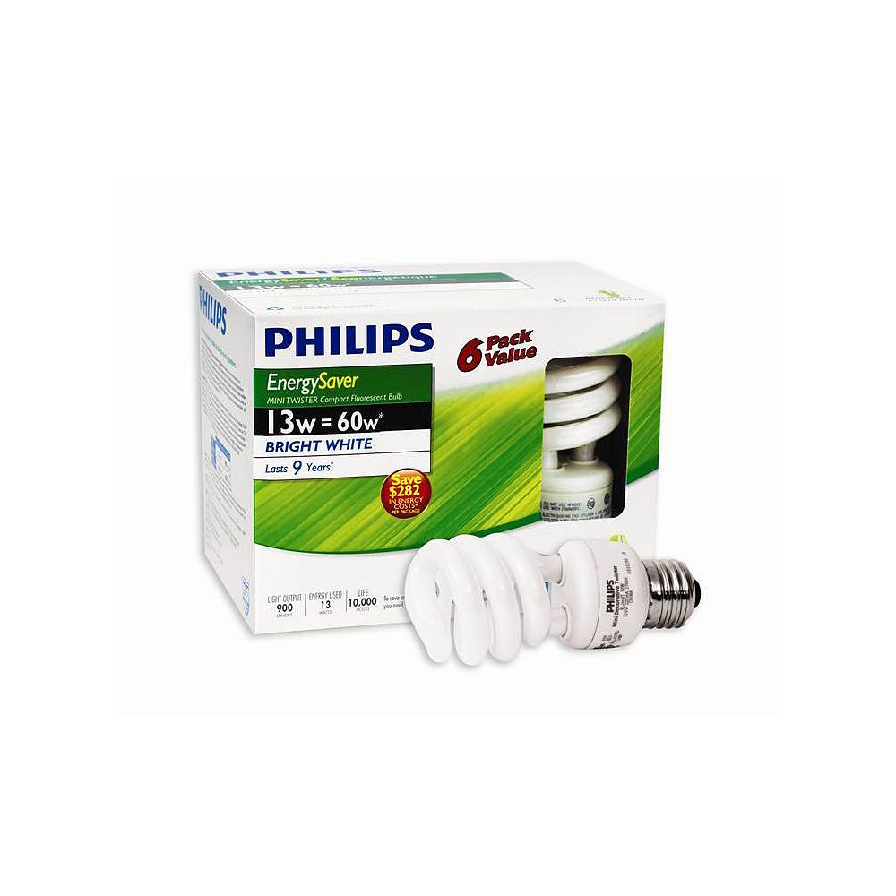 Philips 13W = 60W Bright White (5000K) Mini Twister CFL Light Bulb (6-Pack)