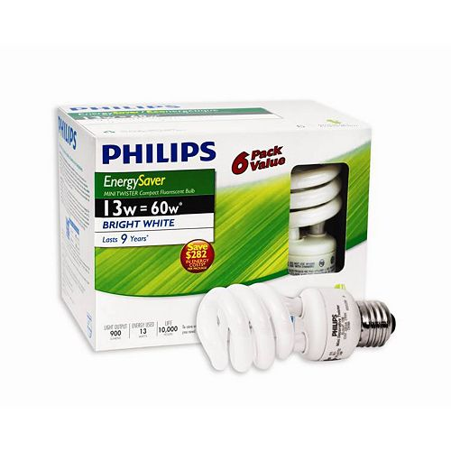 13W = 60W Bright White (5000K) Mini Twister CFL Light Bulb (6-Pack)