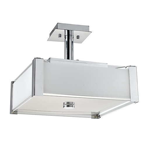 3-Light 60W Chrome Semi-Flushmount Ceiling Light