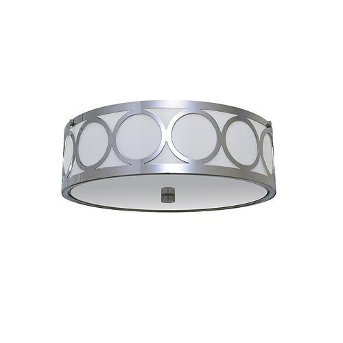 2-Light 60W Chrome Flushmount Ceiling Light