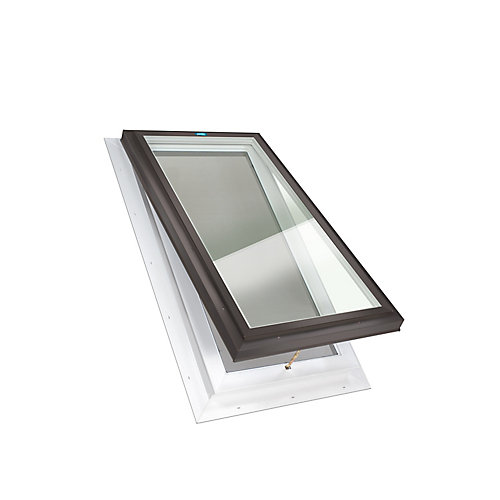 2ft x 4ft Fixed Self Flashing LoE3 Double Glazed Clear Glass Skylight with Brown Frame