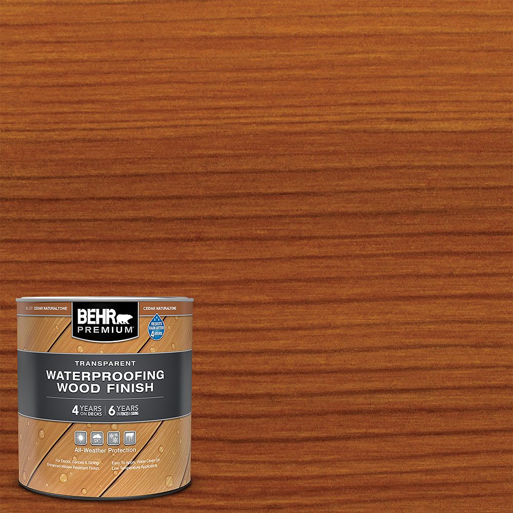 Behr Premium Transparent Waterproofing Wood Finish - Cedar Naturaltone No. 501, 946 mL