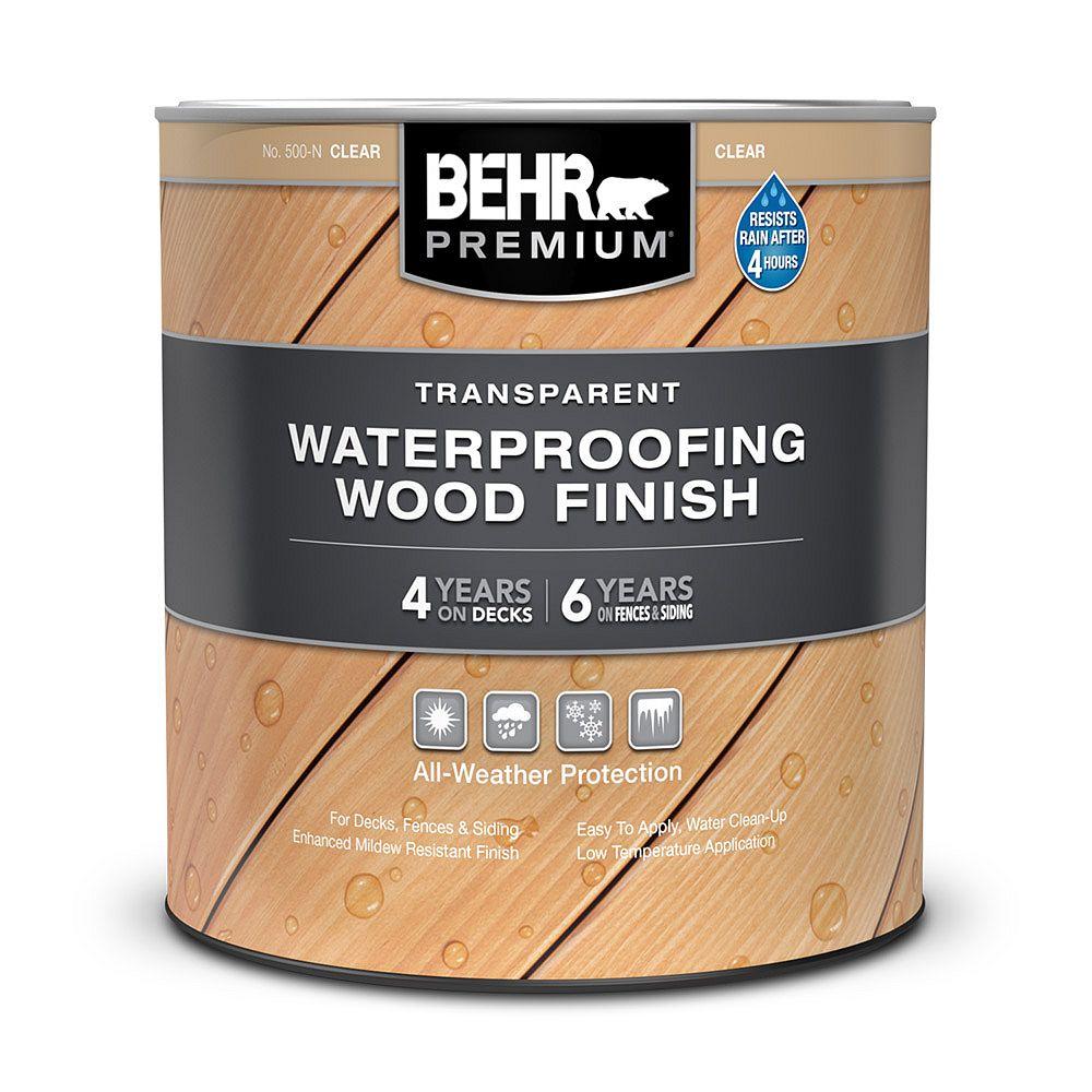 Behr Premium PREMIUM Fini transparent et imperméabilisant pour bois - Incolore no 500-N, 946 ml