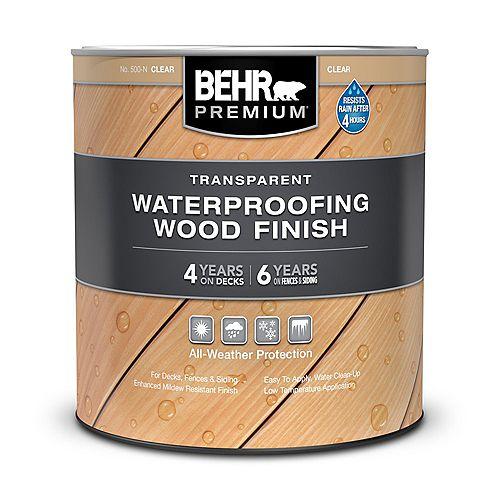 Behr Premium Transparent Waterproofing Wood Finish - Clear No. 500-N, 946 mL