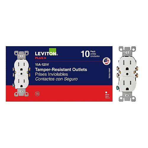 Leviton Duplex Tamper Resistant Receptacle in White (10-Pack)