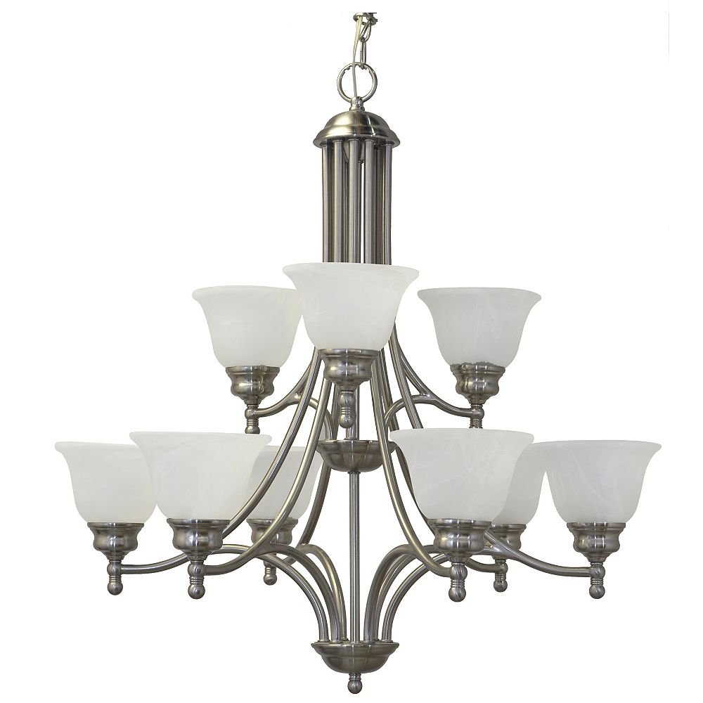 Shawson Lighting 30 Inches Chandelier, Brushed Nickel Finish