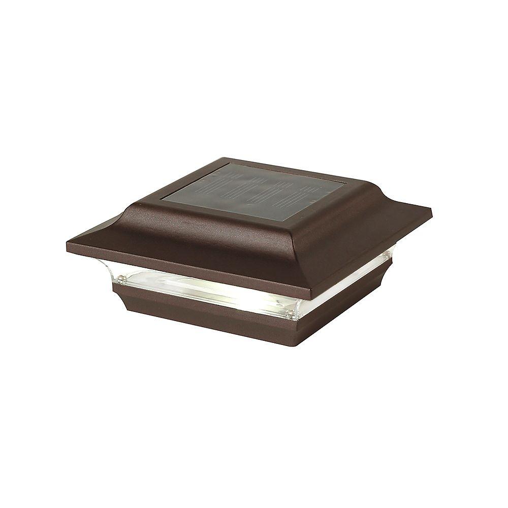 Classy Caps Imperial 4 inch x 4 inch Outdoor Bronze Cast Aluminum LED Solar Post Cap