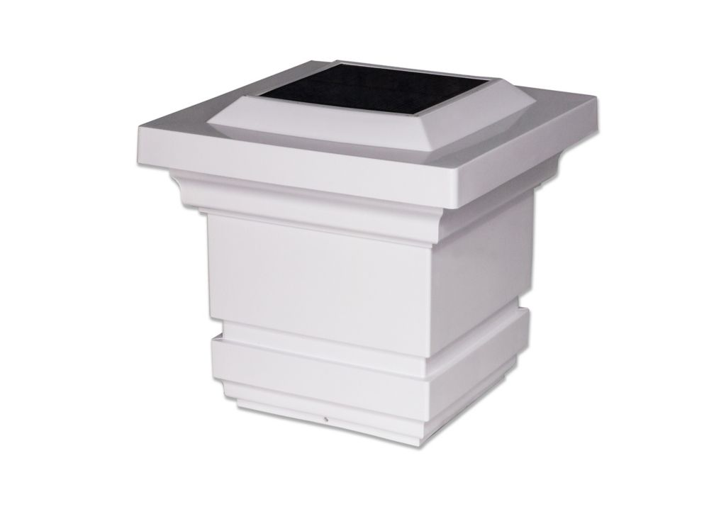Pack Solar Powered Square Outdoor Post Cap Light for 5x5 PVC Posts StonyCreek Two Off White 2