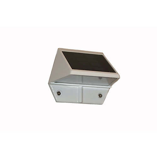 Solar 2-LED Outdoor White Integrated LED Deck and Wall Light