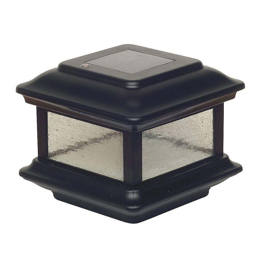 Classy Caps Colonial 3.5 inch x 3.5 inch Outdoor Black Cast Aluminum LED Solar Post Cap