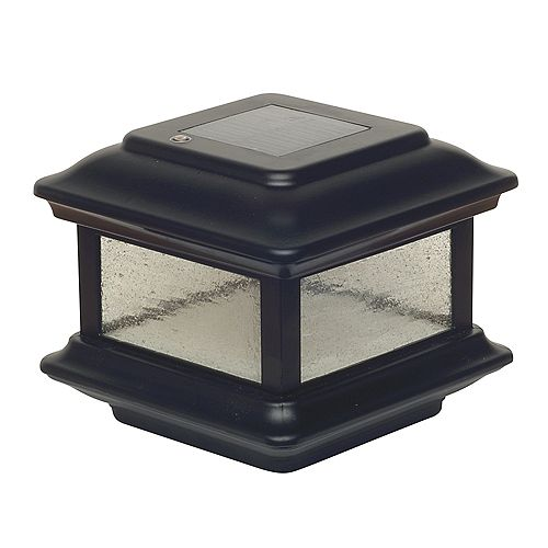 Classy Caps Colonial 3.5 inch x 3.5 inch Outdoor Black Cast Aluminum LED Solar Post Cap