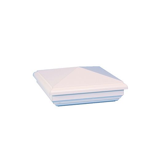 Classy Caps 4 po x 4 po capuchon de poteau PVC New England- blanc