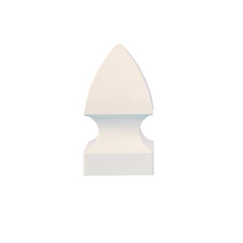 4 po x 4 po capuchon de poteau PVC Gothic- blanc