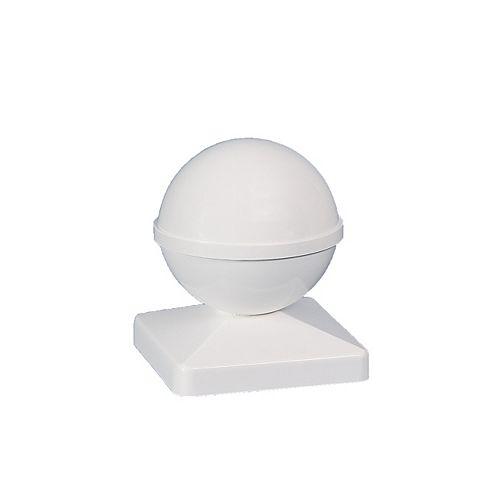 4 po x 4 po capuchon de poteau PVC Ball- blanc