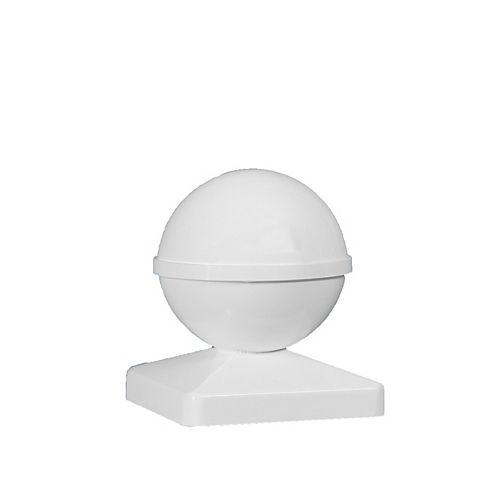 5 po x 5 po capuchon de poteau PVC Ball- blanc
