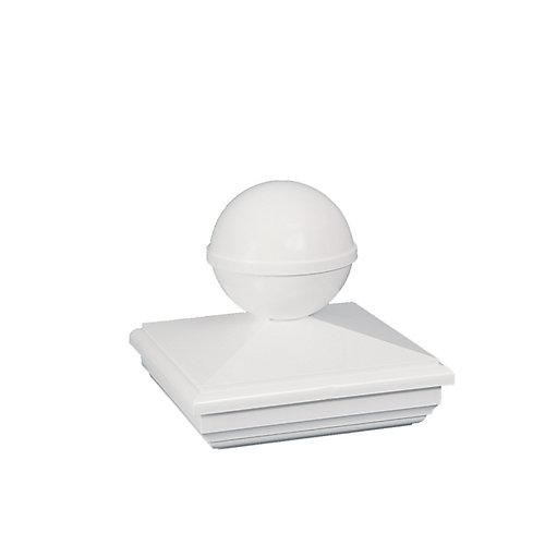 4 po x 4 po capuchon de poteau PVC New England Ball- blanc