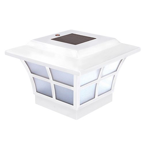 Classy Caps Prestige 4 inch x 4 inch Outdoor White Vinyl LED Solar Post Cap