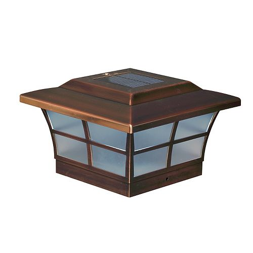 Classy Caps Prestige 6 inch x 6 inch Outdoor Electroplated Copper LED Solar Post Cap