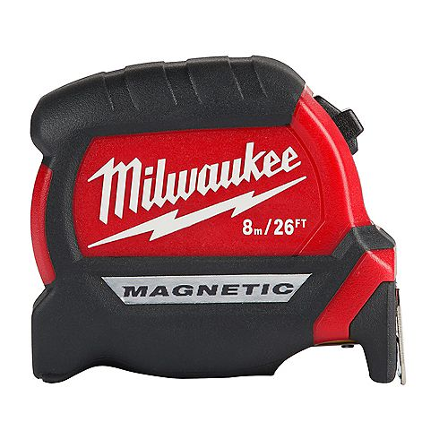 8 m/26 ft. x 1 -inch Compact Magnetic Tape Measure with 15 ft. Reach