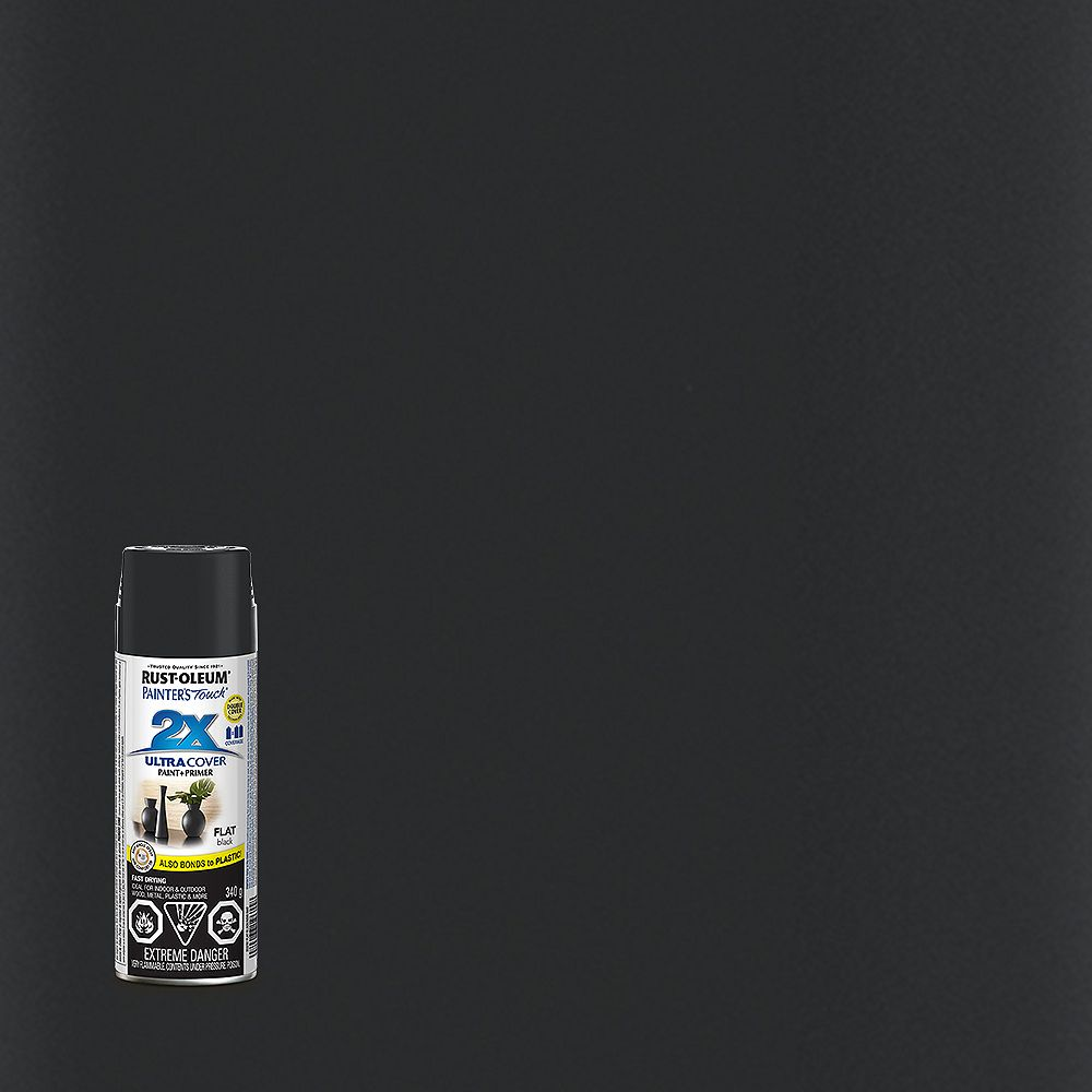 Rust-Oleum Painter's Touch 2X Ultra Cover Multi-Purpose Paint And Primer in Flat Black, 340 G Aerosol Spray Paint