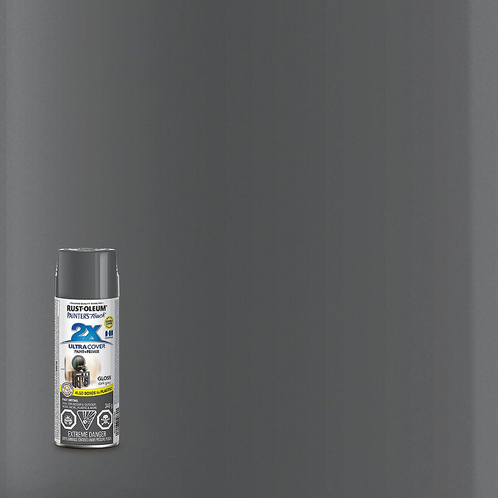 Rust-Oleum Painter's Touch 2X Ultra Cover Multi-Purpose Paint And Primer in Gloss Dark Grey, 340 G Aerosol Spray Paint
