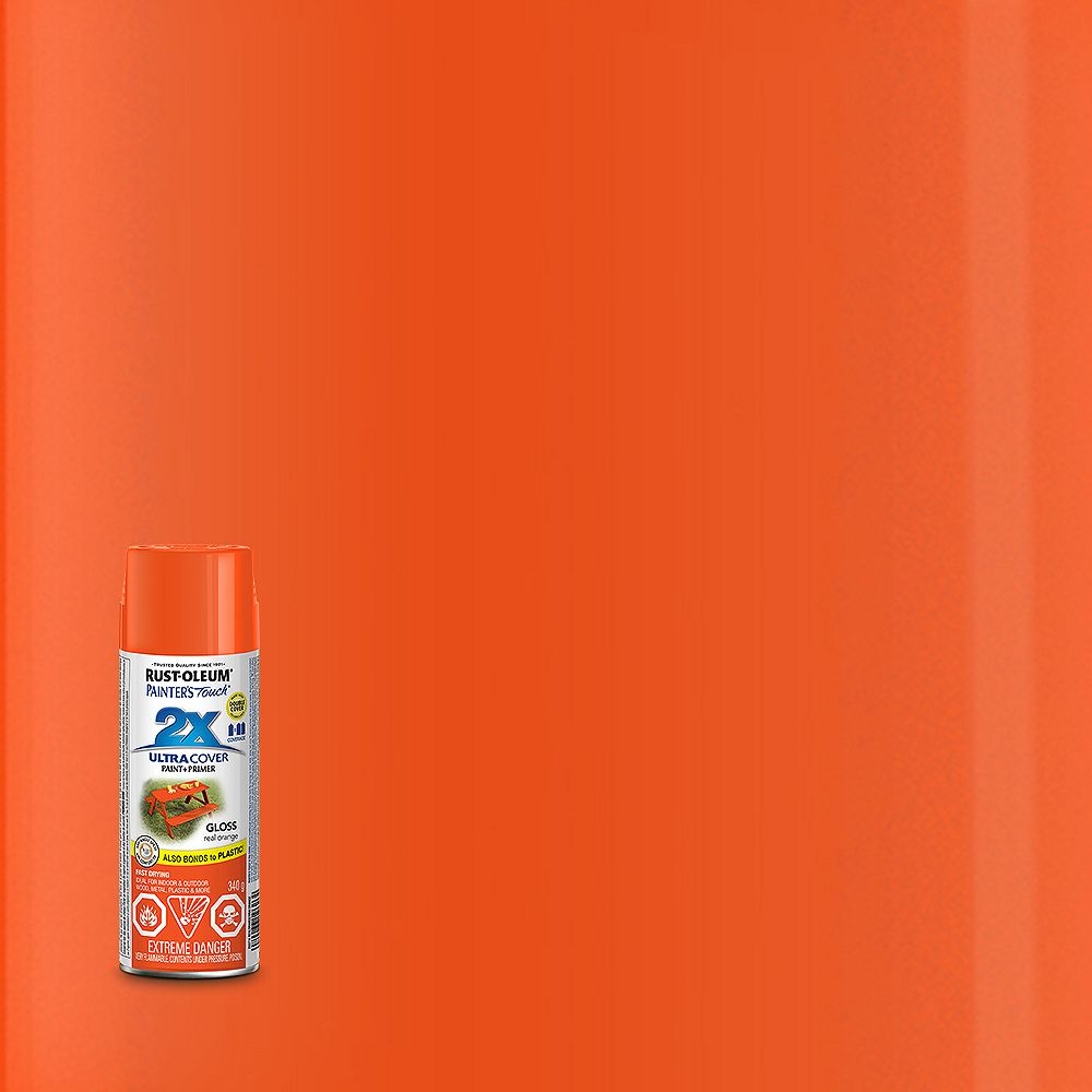 Rust-Oleum Painter's Touch 2X Peinture Multi Usages En Vrai Orange Lustré - 340 G Aérosol